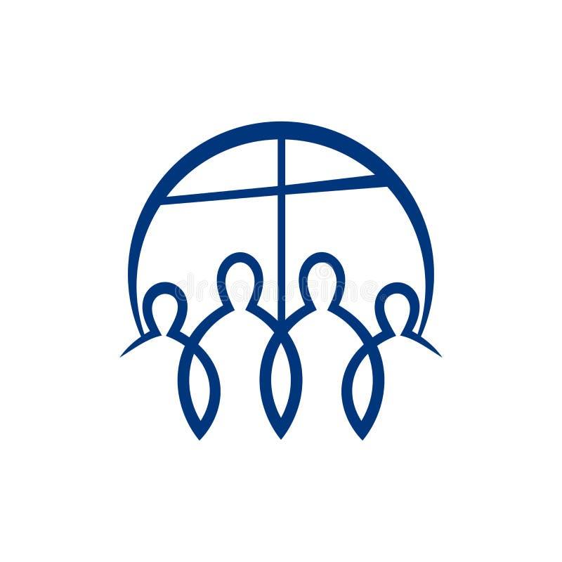 Logotipo de la iglesia La cruz de Jesus Christ y de adorar al señor stock de ilustración