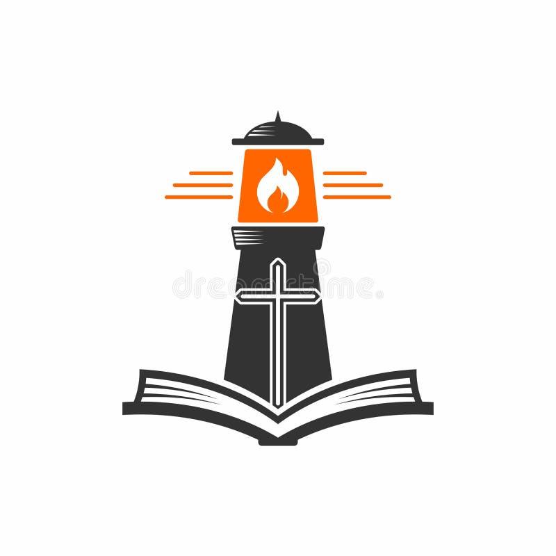 Logotipo de la iglesia Faro del ` s de dios y la escritura santa ilustración del vector