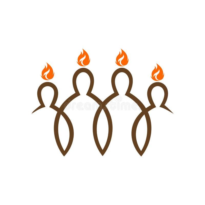 Logotipo de la iglesia Pentecostés, la pendiente del alcohol sobre los discípulos de Cristo stock de ilustración