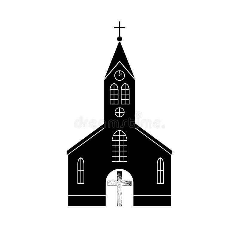 Logotipo de la iglesia, religión, fe, icono cruzado de madera o símbolo stock de ilustración