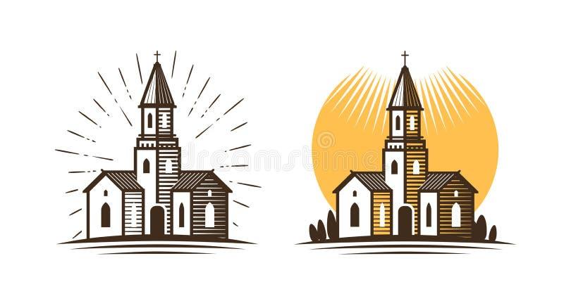 Logotipo de la iglesia Religión, fe, icono de la creencia o símbolo Ilustración del vector stock de ilustración