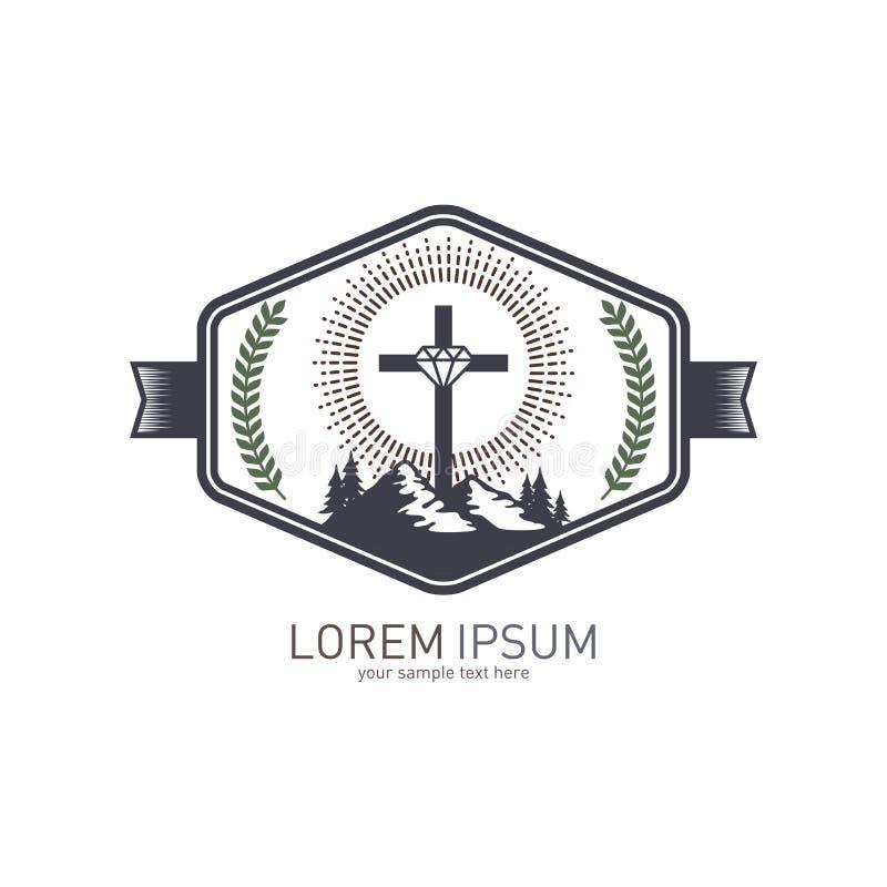 Logotipo de la iglesia Símbolo cristiano Cruz y montaña ilustración del vector