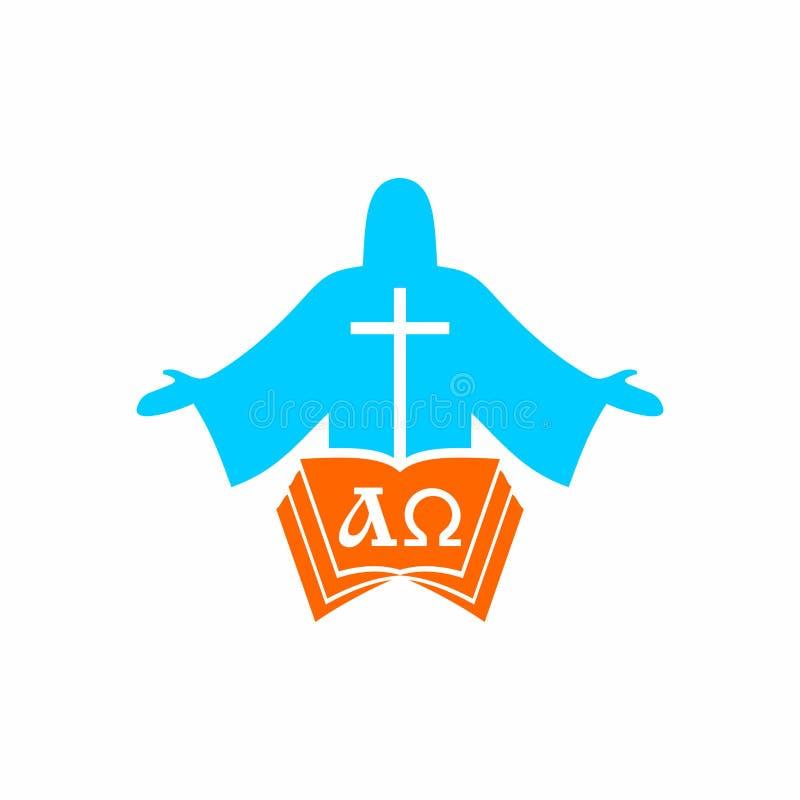 Logotipo de la iglesia Símbolos de Cristian Jesus Christ, la biblia y las letras alfa y Omega ilustración del vector