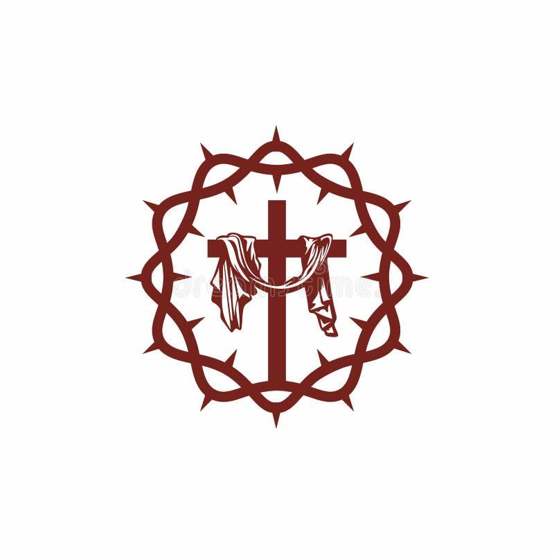 Logotipo de la iglesia Símbolos cristianos Corona del salvador Jesus Christ de las espinas y la cruz en el Calvary libre illustration