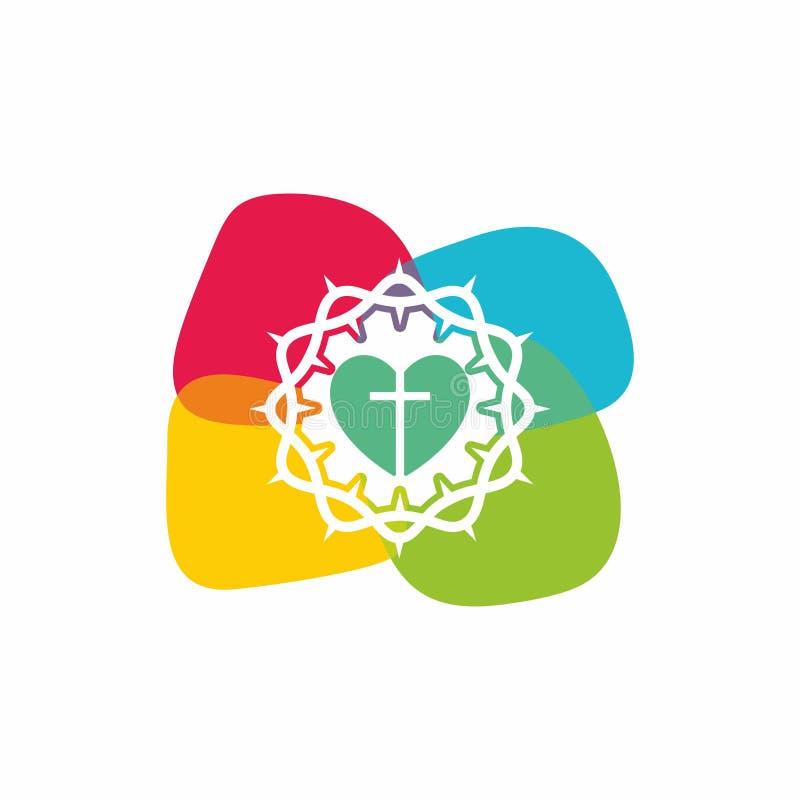 Logotipo de la iglesia Símbolos cristianos La cruz de Jesus Christ y de la corona de espinas ilustración del vector