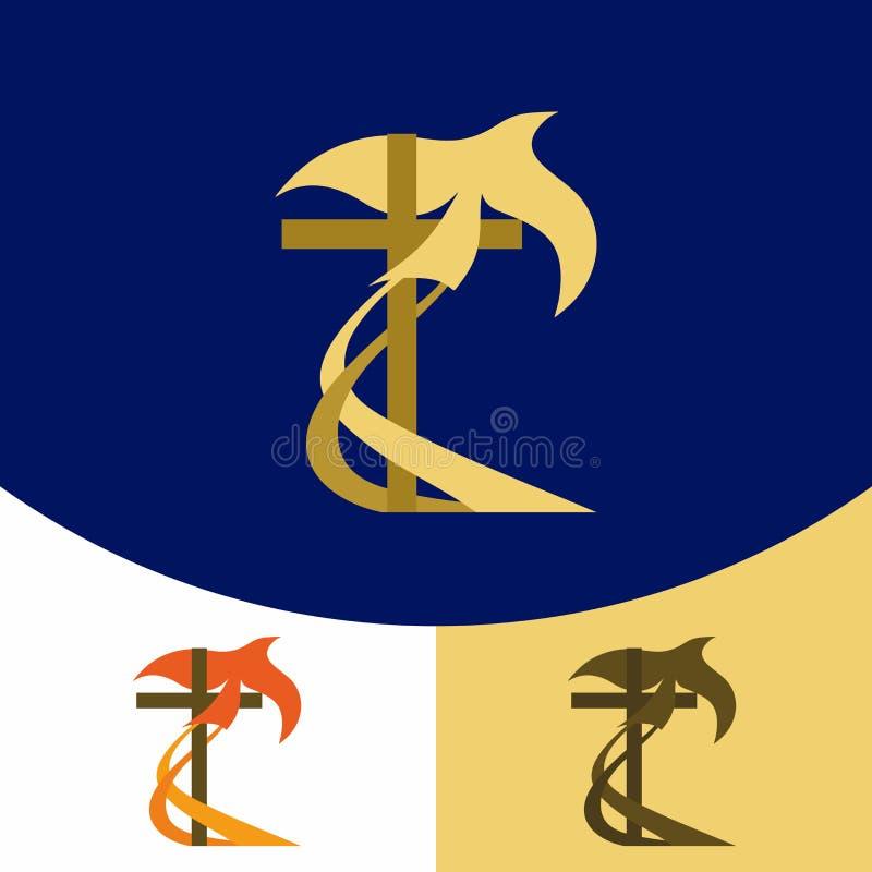 Logotipo de la iglesia Símbolos cristianos La cruz de Jesus Christ, y la paloma del Espíritu Santo ilustración del vector