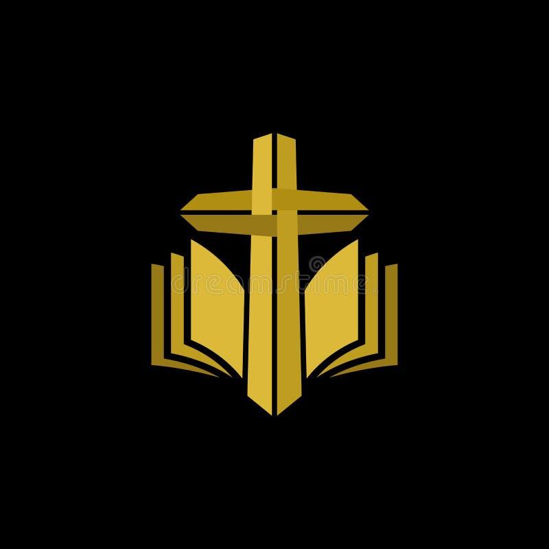 Logotipo de la iglesia Símbolos cristianos Cruz y Sagrada Biblia del oro ilustración del vector