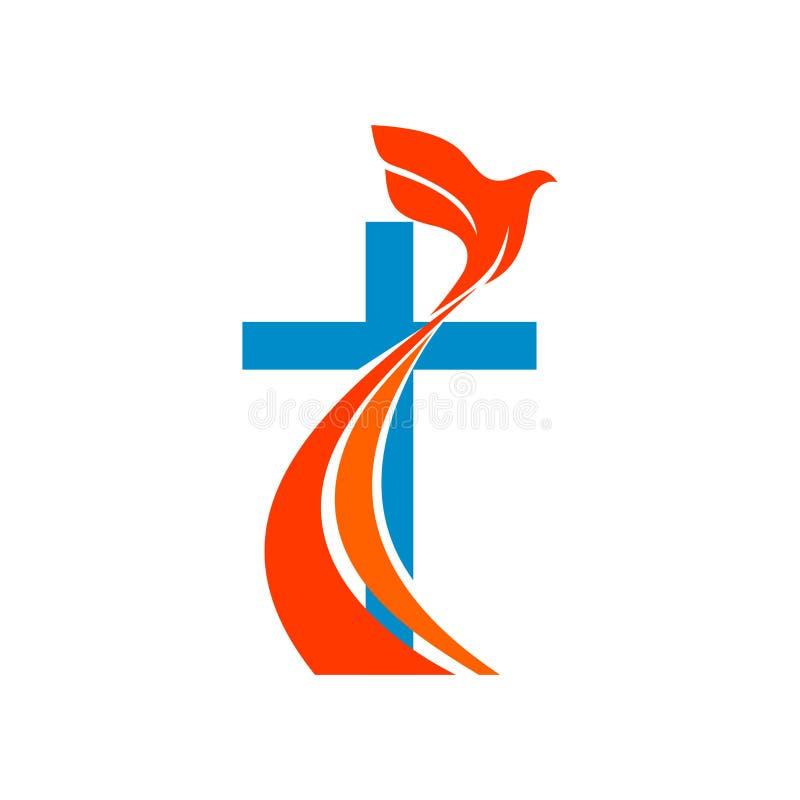 Logotipo de la iglesia Símbolos cristianos Cruz y una paloma del vuelo - un símbolo del Espíritu Santo stock de ilustración