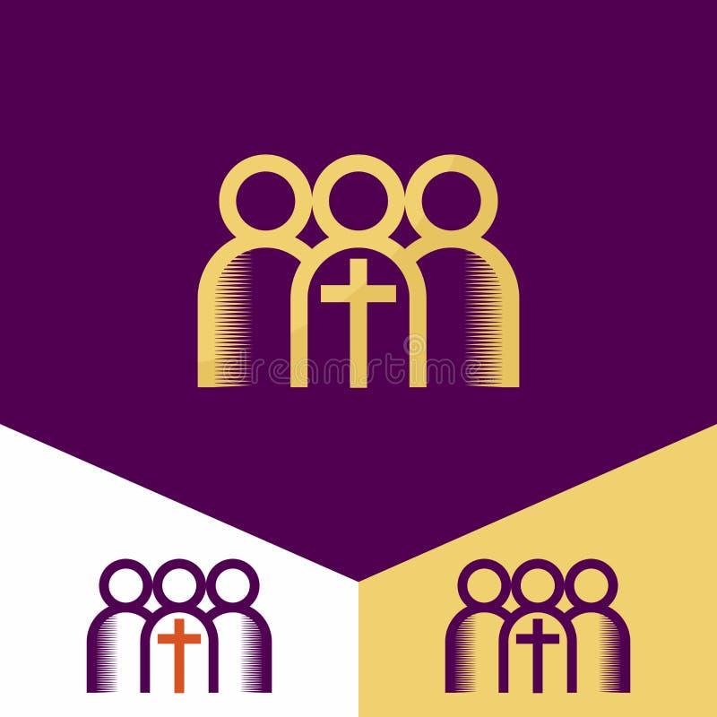 Logotipo de la iglesia Símbolos cristianos La mano del señor, un recordatorio del sacrificio santo del logotipo de Jesus ChristCh stock de ilustración