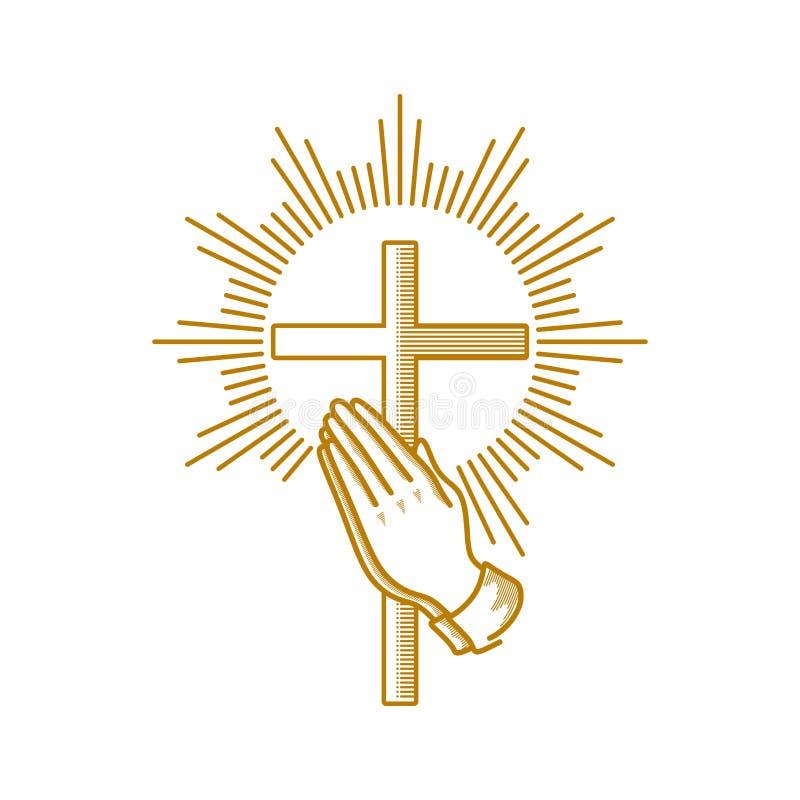 Logotipo de la iglesia Símbolos cristianos Manos y cruz de rogación de Jesus Christ ilustración del vector