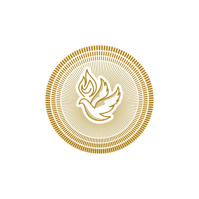 Logotipo de la iglesia Símbolos cristianos La paloma y la llama son símbolos del Espíritu Santo ilustración del vector