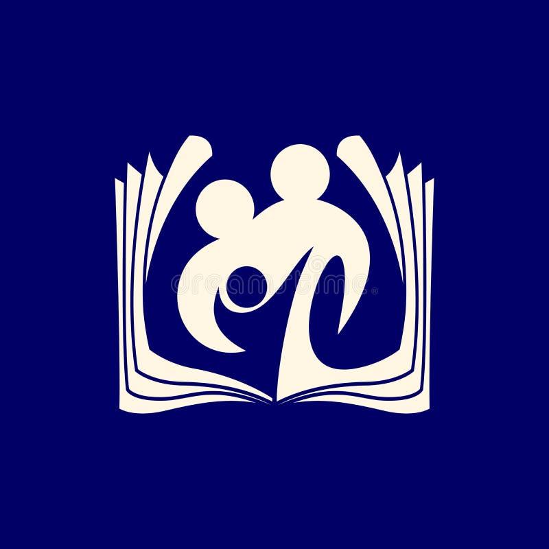 Logotipo de la iglesia Una biblia abierta y una familia de amantes de dios libre illustration