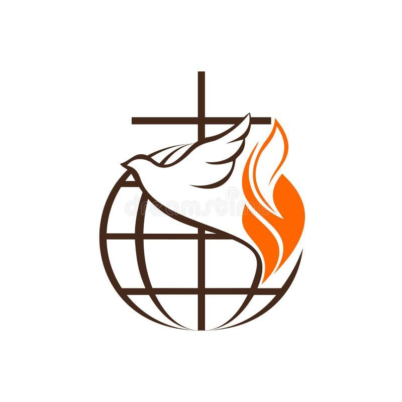 Logotipo de la iglesia y del ministerio El globo, la cruz de Jesus Christ y la paloma son un símbolo del Espíritu Santo ilustración del vector