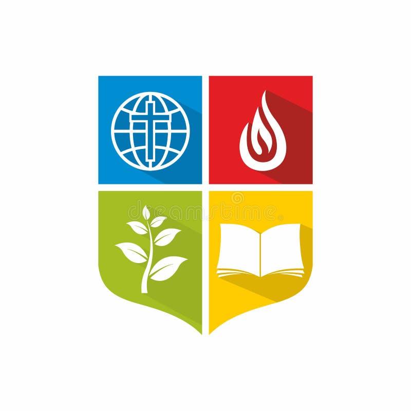 Logotipo de la iglesia y del ministerio Una biblia abierta y un brote de la fe, un globo y la llama del Espíritu Santo stock de ilustración
