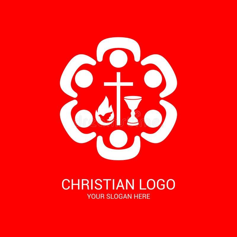 Logotipo de la iglesia y s?mbolos b?blicos La unidad de creyentes en Jesus Christ, la adoraci?n de dios ilustración del vector