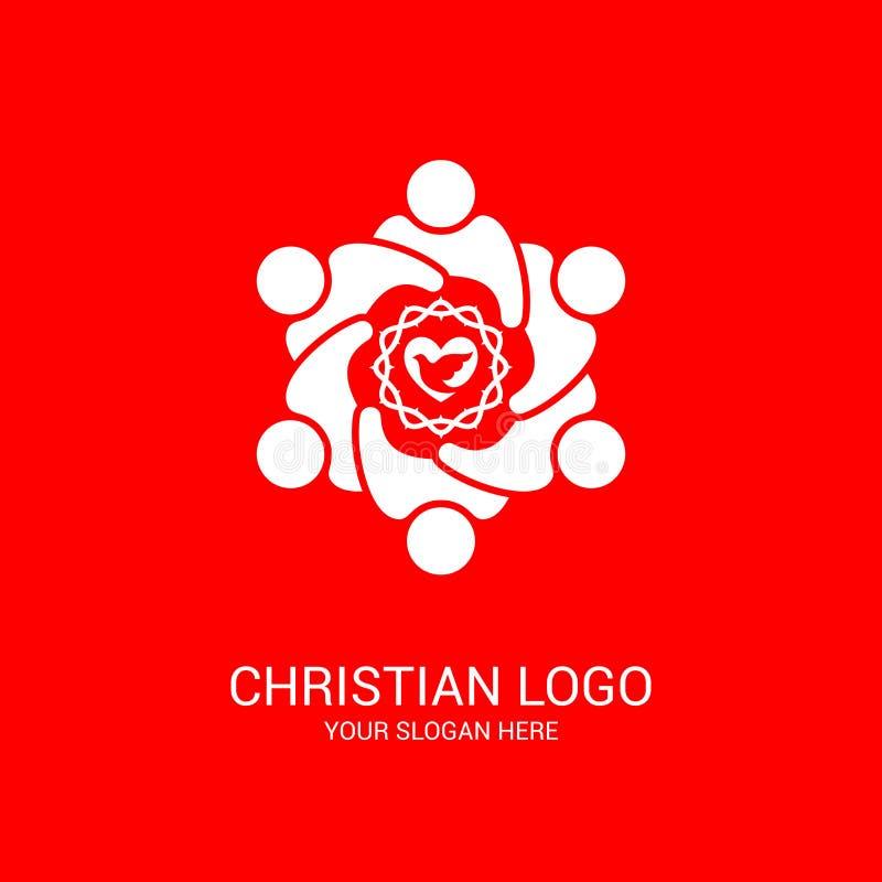 Logotipo de la iglesia y s?mbolos b?blicos La unidad de creyentes en Jesus Christ, la adoraci?n de dios stock de ilustración
