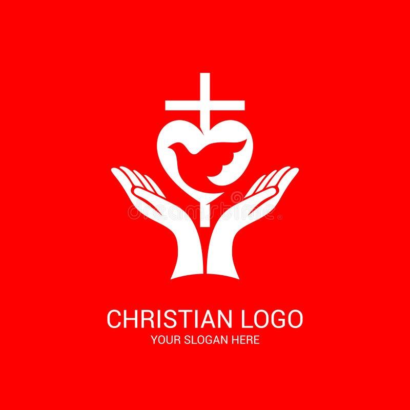 Logotipo de la iglesia y s?mbolos b?blicos La unidad de creyentes en Jesus Christ, la adoraci?n de dios, participaci?n por la tar libre illustration