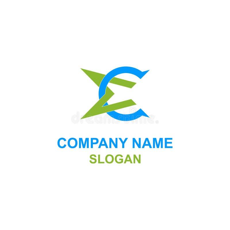 Logotipo de la inicial de la letra de la EC ilustración del vector