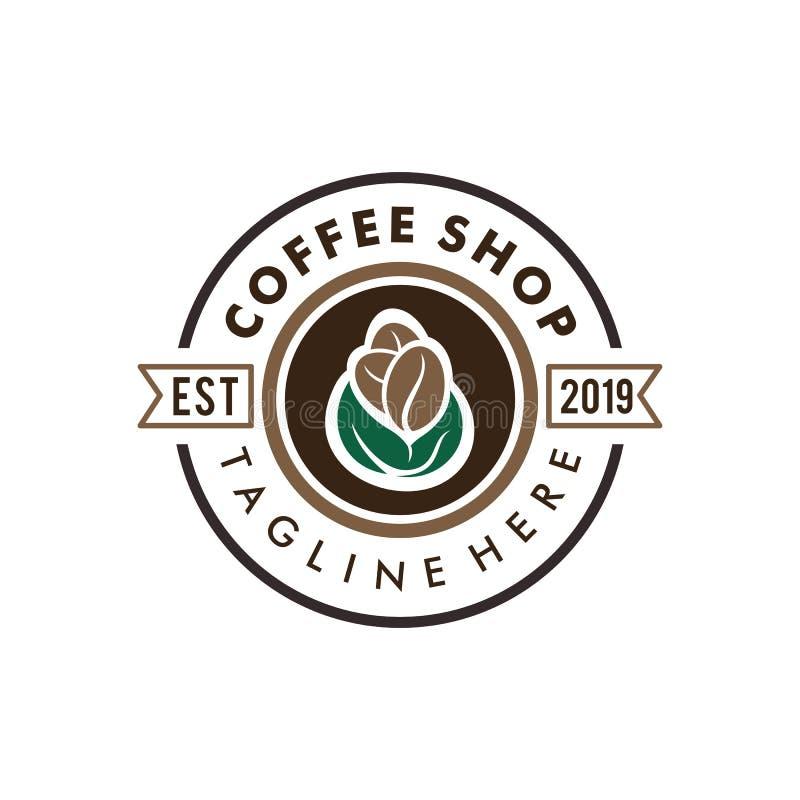 Logotipo de la insignia de la cafetería y diseño retros del icono ilustración del vector