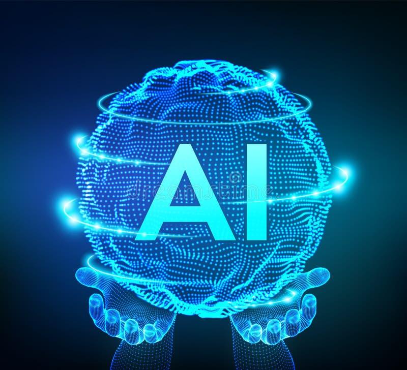 Logotipo de la inteligencia artificial del AI en manos Concepto de la inteligencia artificial y del aprendizaje de m?quina Onda d libre illustration