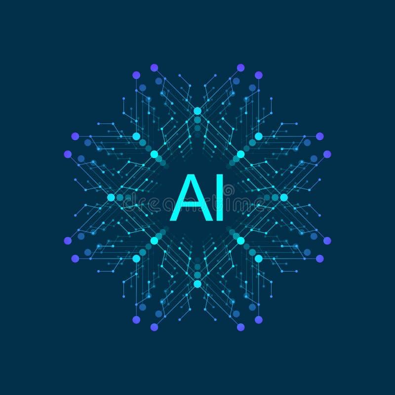 Logotipo de la inteligencia artificial, icono Símbolo AI del vector Profundamente aprendizaje y diseño de concepto futuro de la t libre illustration