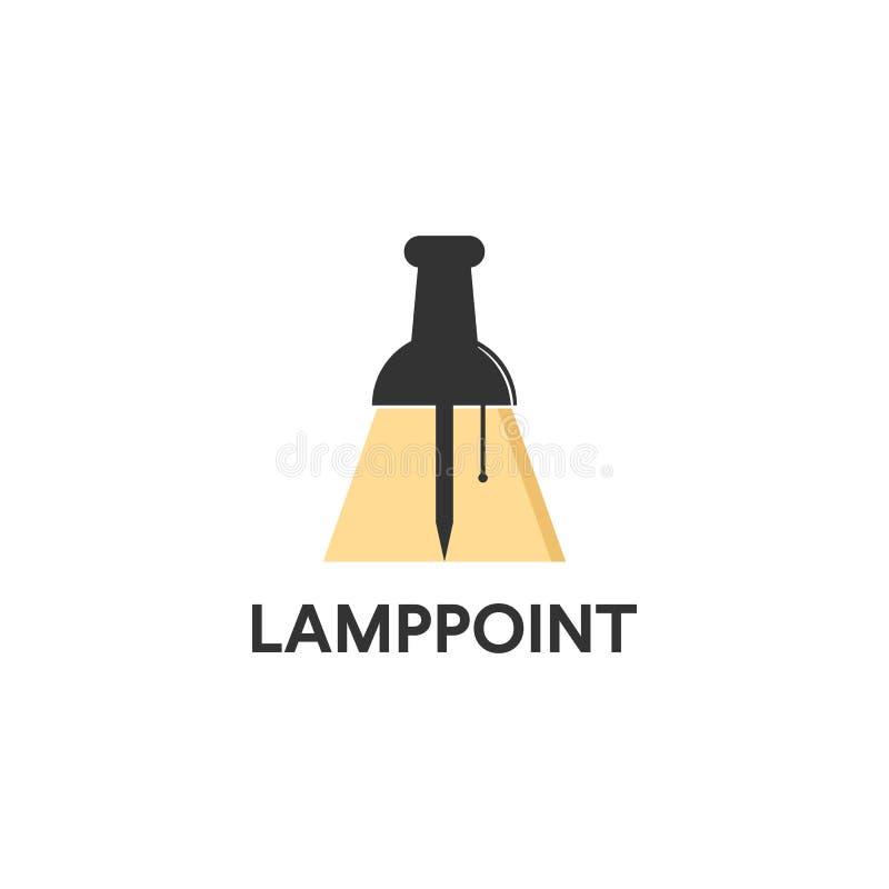Logotipo de la lámpara con el icono del perno ilustración del vector