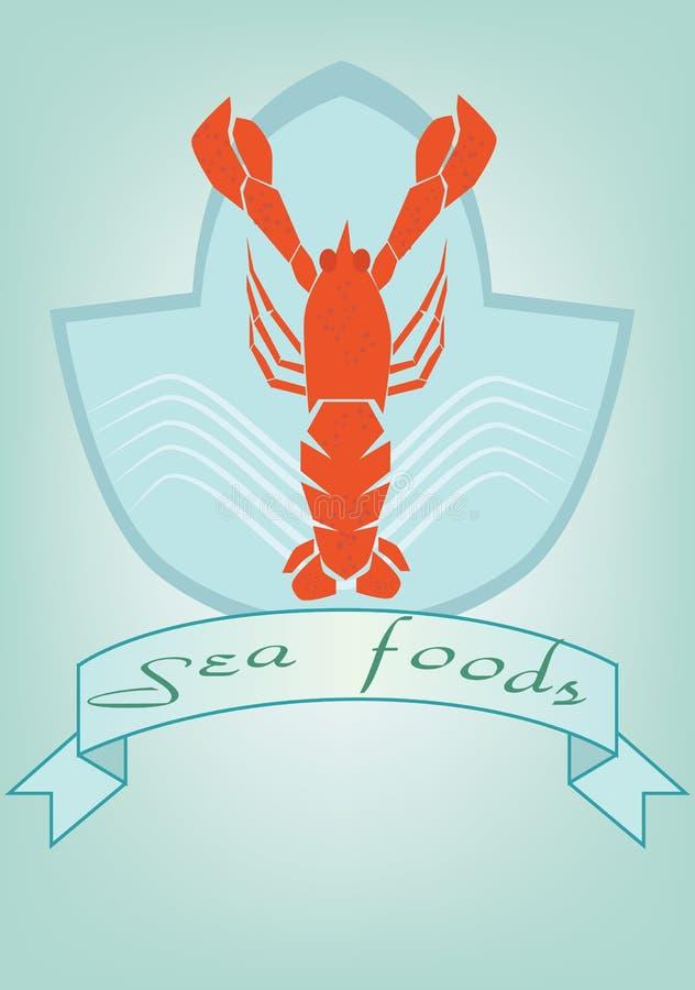 Logotipo de la langosta de la etiqueta del marisco en fondo stock de ilustración