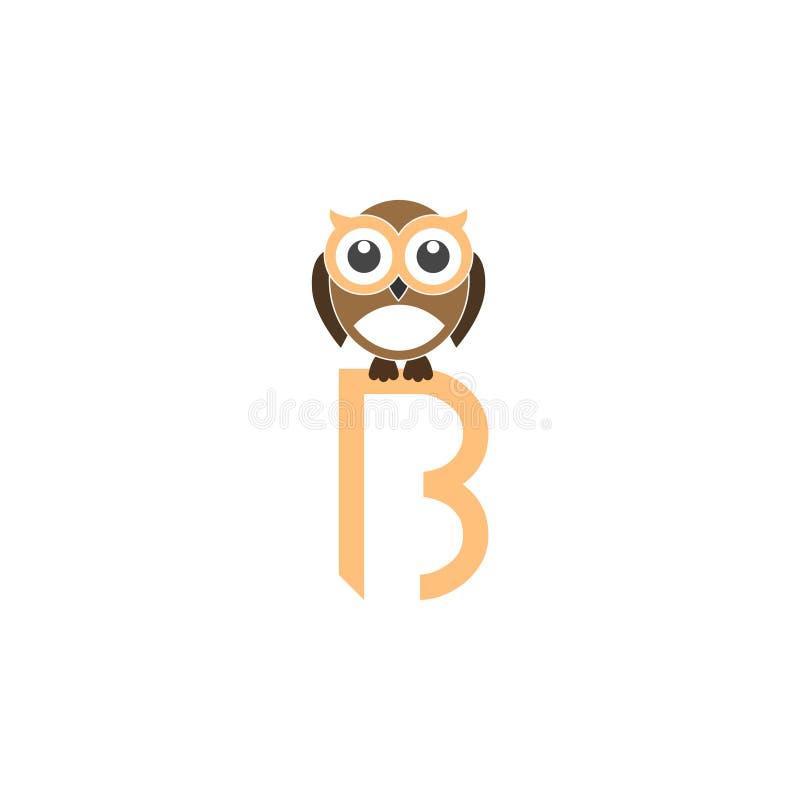 Logotipo de la letra B, concepto del búho libre illustration