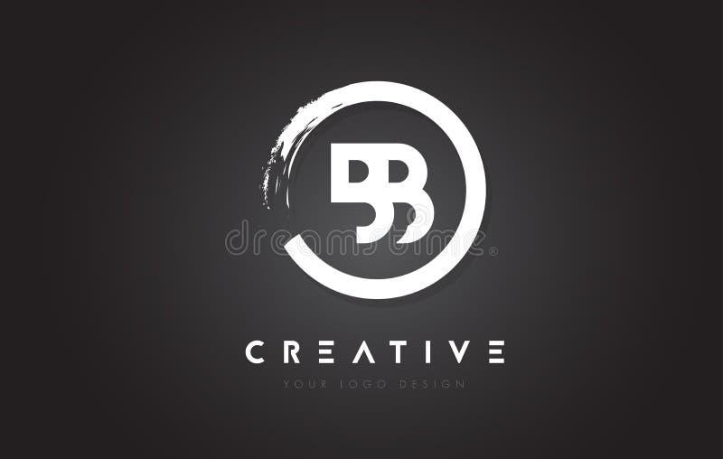Logotipo de la letra circular del BB con el diseño y el negro Backg del cepillo del círculo ilustración del vector