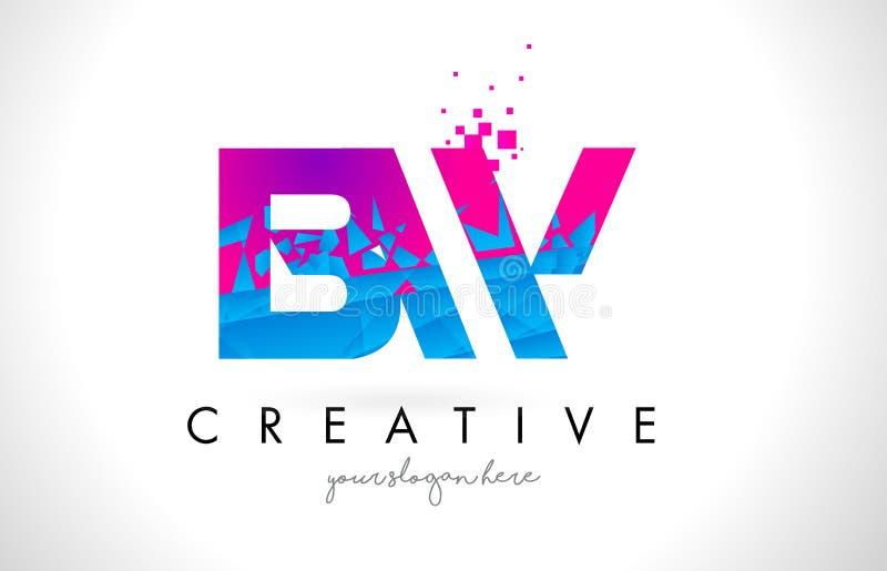 Logotipo de la letra de BW B W con la textura rosada azul rota rota Desig stock de ilustración