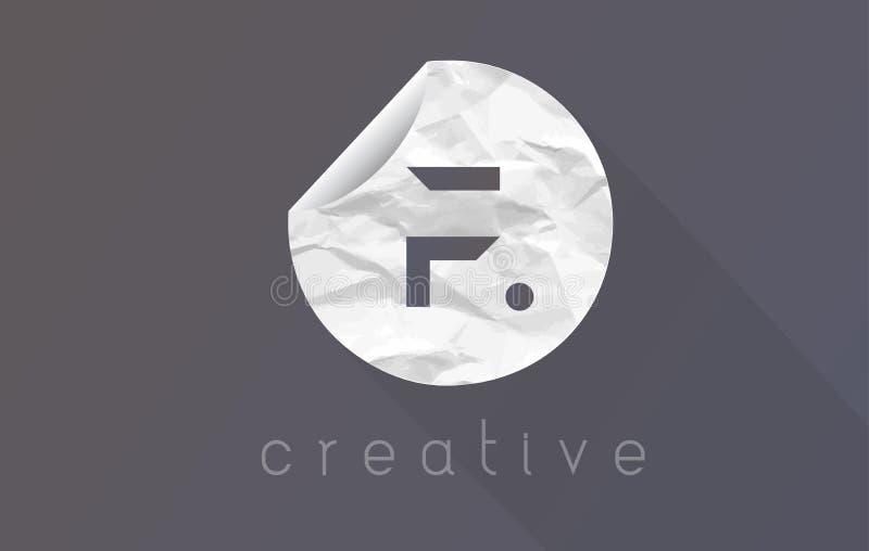 Logotipo de la letra de F con textura arrugada y rasgada del papel de embalaje stock de ilustración