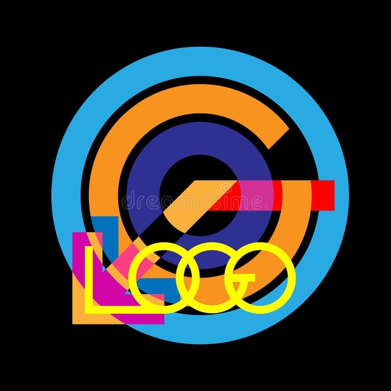Logotipo de la letra del logotipo con las rayas vivas coloridas Letras en uno a Montante del vintage del diseño de la textura Ilu libre illustration
