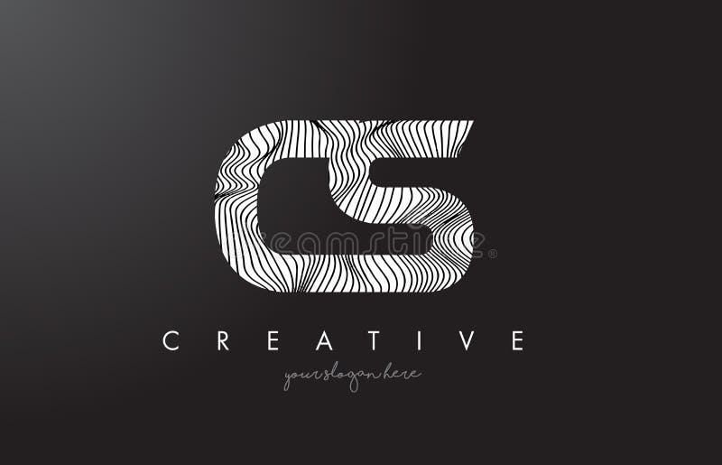 Logotipo de la letra del CS C S con las líneas vector de la cebra del diseño de la textura libre illustration