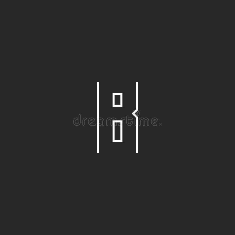 Logotipo de la letra del monograma B, línea fina emblema, plantilla blanco y negro del inconformista moderno del elemento del dis stock de ilustración