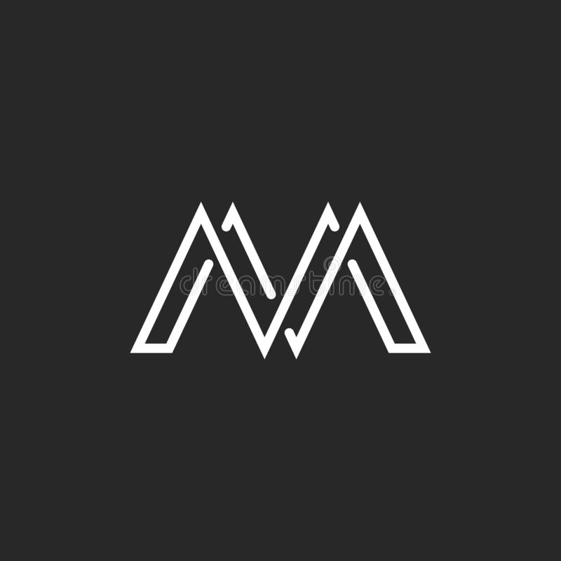 Logotipo de la letra del monograma de M, línea fina de la travesía, emblema blanco y negro de la maqueta libre illustration