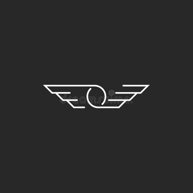 Logotipo de la letra del símbolo O de las alas, línea fina monograma del inconformista, emblema creativo del estilo minimalista d stock de ilustración