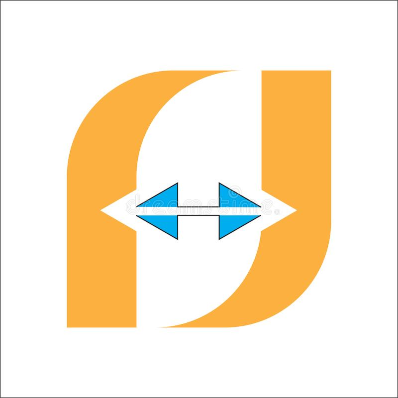 Logotipo de la letra F en y aislado ilustración del vector