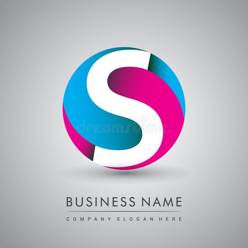 Logotipo de la letra inicial s con la identidad colorida, inicial del círculo del logotipo para su negocio y la compañía stock de ilustración