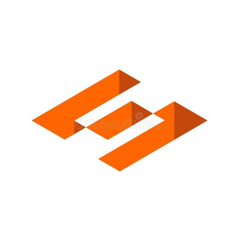 Logotipo de la letra inicial S Forma geométrica isométrica, diseño del icono 3D Elemento anaranjado del diseño gráfico de color - libre illustration
