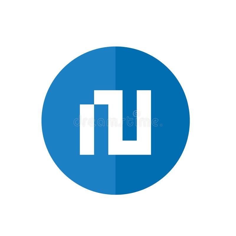 Logotipo de la letra N de Digitaces, combinado con Blue Circle, ejemplo del vector, icono plano del diseño libre illustration