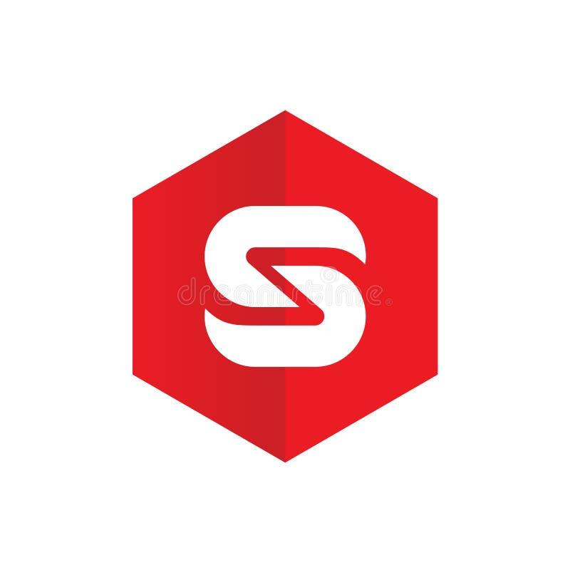Logotipo de la letra S, combinado con hexágono rojo, diseño plano stock de ilustración