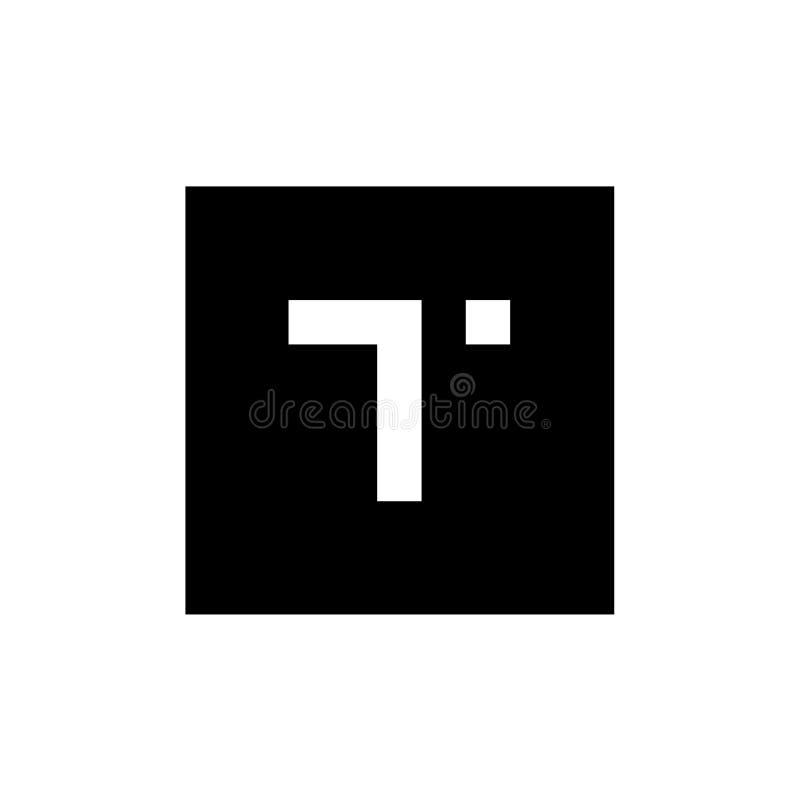 Logotipo de la letra T, combinado con forma cuadrada, diseño del icono del alfabeto T, logotipo blanco y negro del vector libre illustration