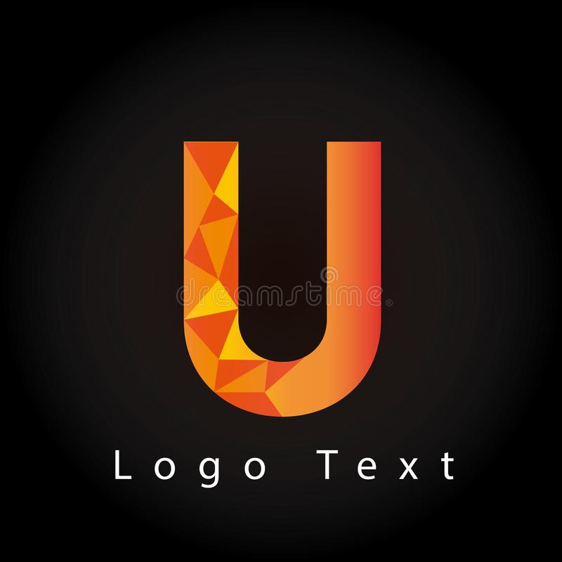 Logotipo de la letra U con estilo poligonal fotos de archivo