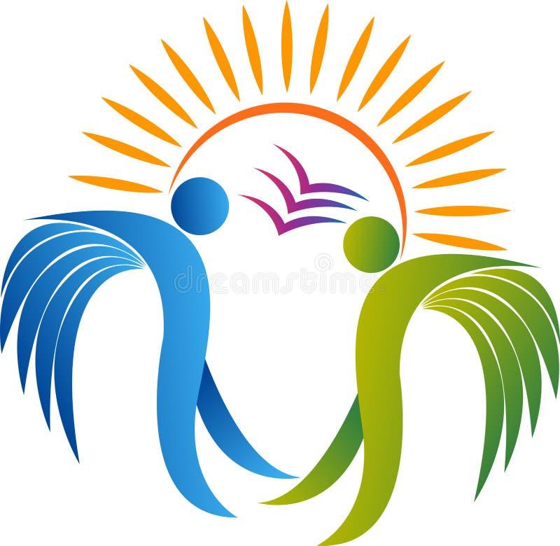 Logotipo de la libertad de los ángeles stock de ilustración