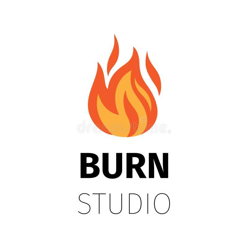 Logotipo de la llama del fuego del estudio de la quemadura ilustración del vector