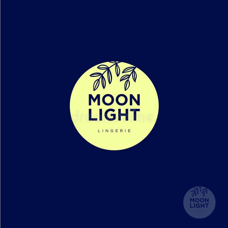 Logotipo de la luz de luna Logotipo de la ropa interior Letras y siluetas de plantas contra la perspectiva de la luna ilustración del vector