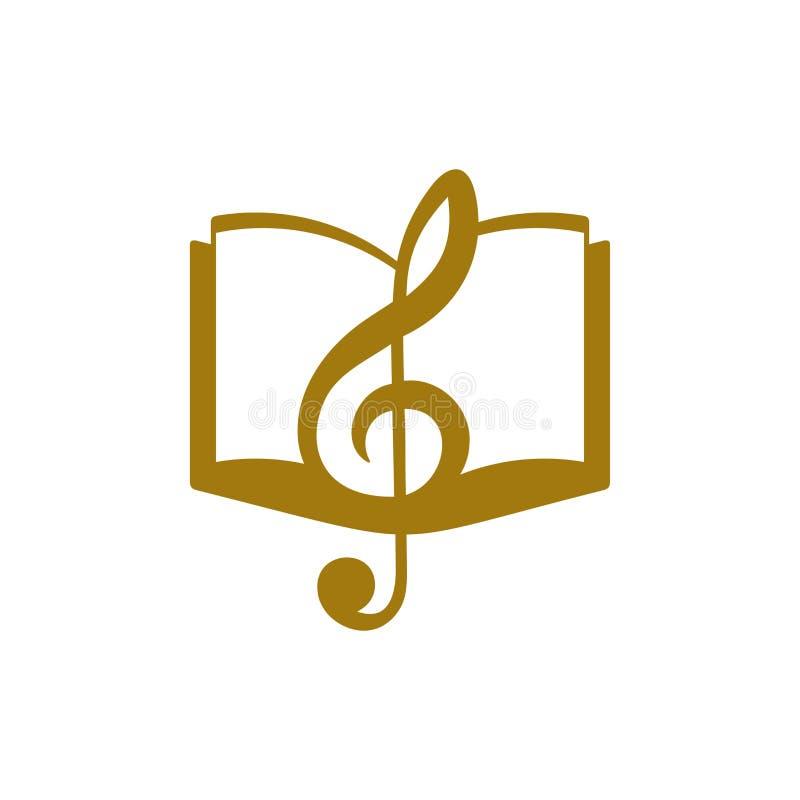 Logotipo de la música Clave de sol y libro stock de ilustración