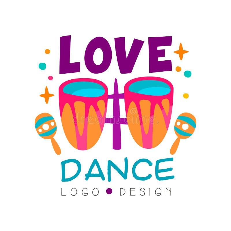 Logotipo de la música con los tambores y los maracas Diseño abstracto del vector para la escuela de danza, el club de noche o el  ilustración del vector
