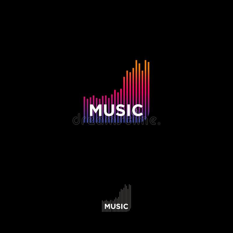Logotipo de la música Emblema del estudio de grabación Equalizador y letras en un fondo oscuro stock de ilustración