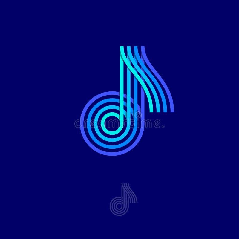 Logotipo de la música Observe el emblema Logotipo multicolor como nota sobre un fondo oscuro libre illustration